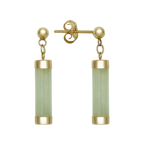 Genuine Jade 14K Yellow Gold Tube Earrings