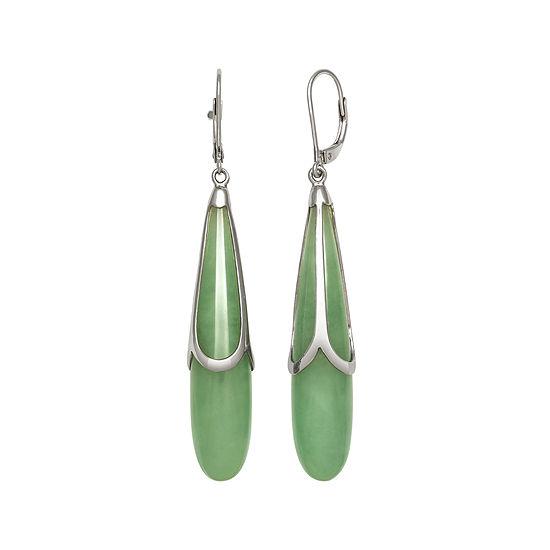 Genuine Jade Sterling Silver Drop Earrings