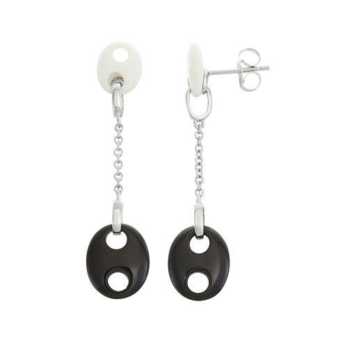 Genuine Onyx & White Agate Sterling Silver Drop Earrings