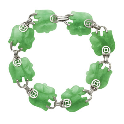 Elephant-Shaped Genuine Jade Sterling Silver Bracelet