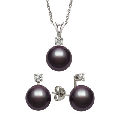 Black Cultured Freshwater Pearl & Genuine White Topaz Sterling Silver 2-pc. Set