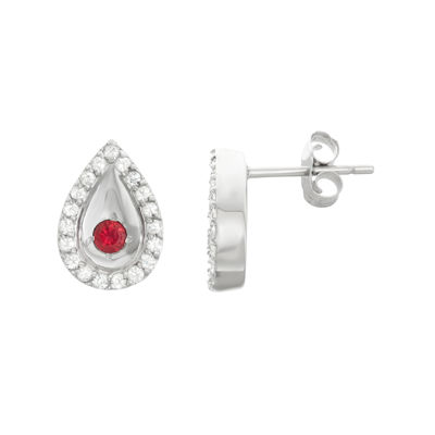 Lab-Created African Ruby & Genuine White Sapphire Sterling Silver Earrings