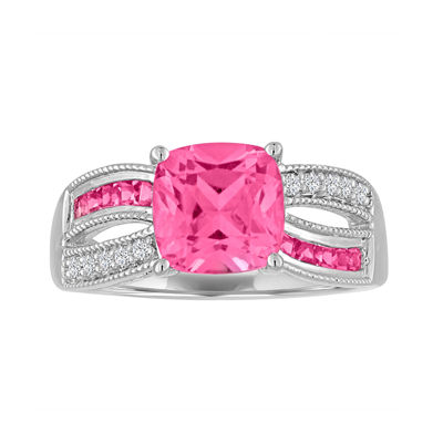 Lab-Created Pink and White Sapphire Sterling Silver Ring