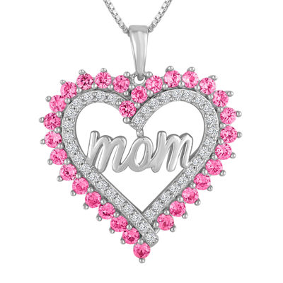 Lab created pink white sapphire sterling silver mom heart lab created pink white sapphire sterling silver mom heart pendant necklace mozeypictures Images