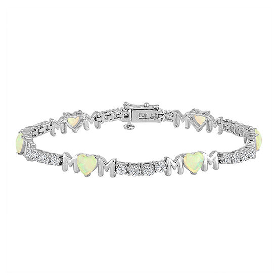 "Lab-Created Opal & Cubic Zirconia Sterling Silver Over Brass ""Mom"" Bracelet"