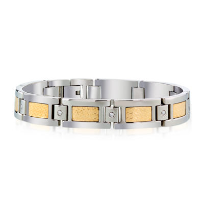 Mens 1/7 C.T. TW. Diamond 18K Gold and Stainless Steel Bracelet