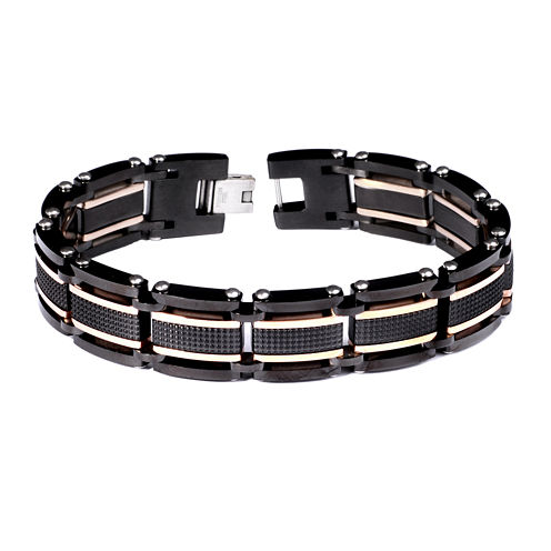 Mens Two-Tone Stainless Steel Chain Bracelet