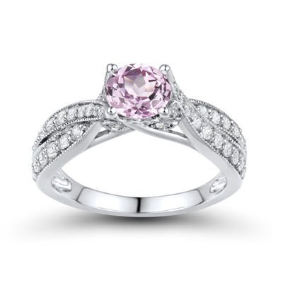 DiamonArt® Pink & White Cubic Zirconia Sterling Silver Bridal Ring