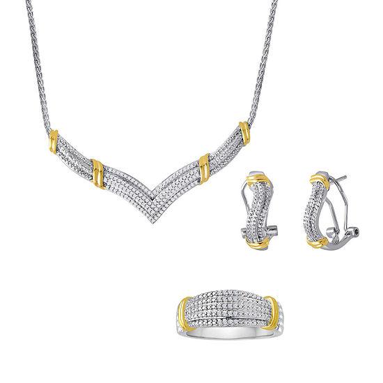 1/5 CT. T.W. Diamond Two-Tone 3-pc. Jewelry Set