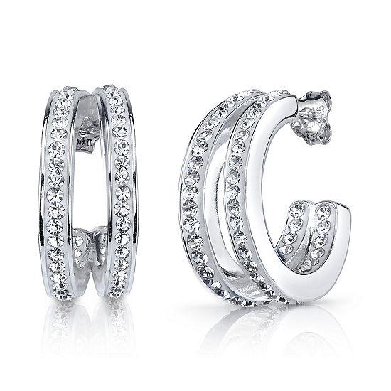 Sparkle Allure White Crystal 20mm Hoop Earrings