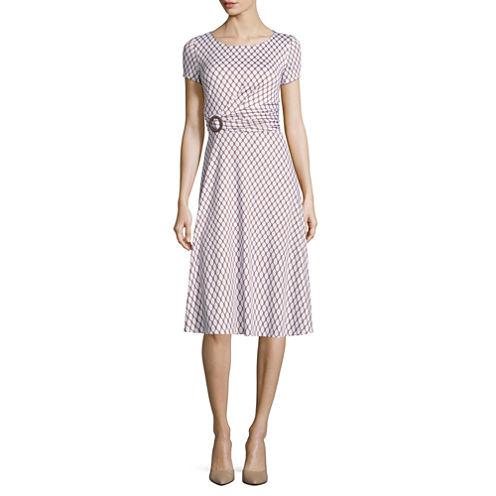 Perceptions Short Sleeve Geometric Fit & Flare Dress