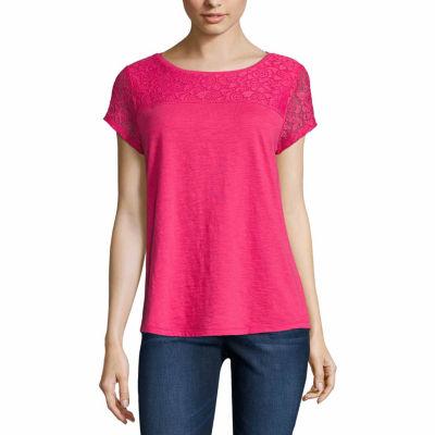 Liz Claiborne Short Sleeve Lace Yoke T-Shirt