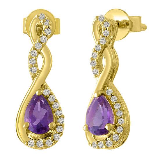 Genuine Purple Amethyst 14K Gold Over Silver Drop Earrings