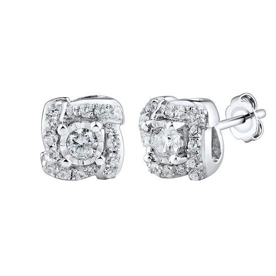 1/4 CT. T.W. Genuine White Diamond 10K Gold 6.4mm Stud Earrings