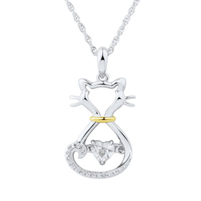 Love in Motion Diamond Accent Sterling Silver Cat Necklace Pendant
