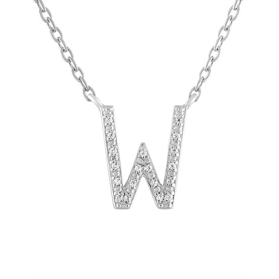 """""""One In A Million"""" Letter """"W"""" Womens Diamond Accent Genuine White Diamond Sterling Silver Pendant Necklace"""