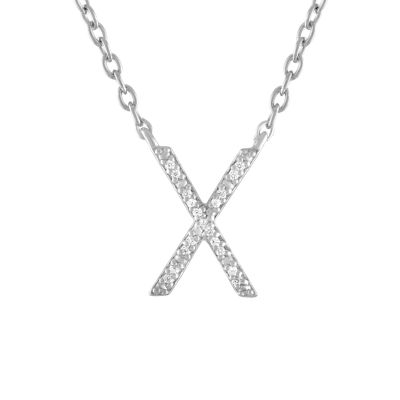 """One In A Million"" Letter ""X"" Womens Diamond Accent Genuine White Diamond Sterling Silver Pendant Necklace"