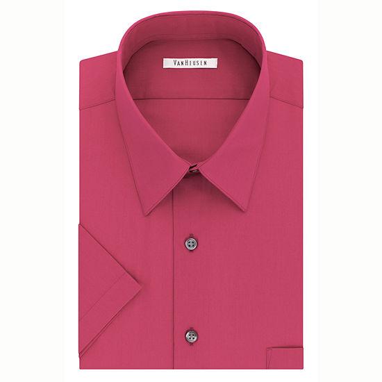 Van Heusen Easy-Care Poplin Big And Tall Mens Point Collar Short Sleeve Dress Shirt