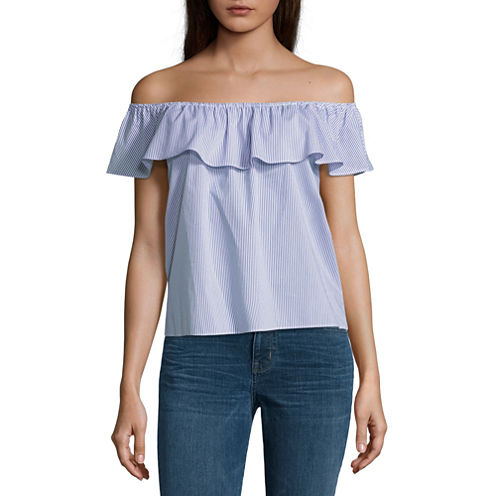 By&By Sleeveless Off The Shoulder Oxford Blouse-Juniors