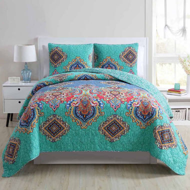 VCNY Global Bazaar 3-pc. Damask + Scroll Quilt Set