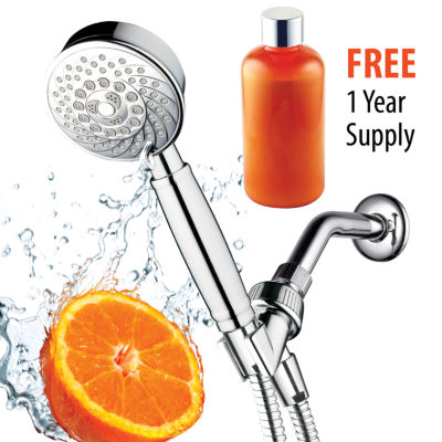 HotelSpa® Fusion™ Ultra-Luxury 4-inch Chrome Face / 7-Setting Water-Conditioning Handheld ShowerHead with Refillable Cartridge and FREE 1 Year Supply of Vitamin Cr