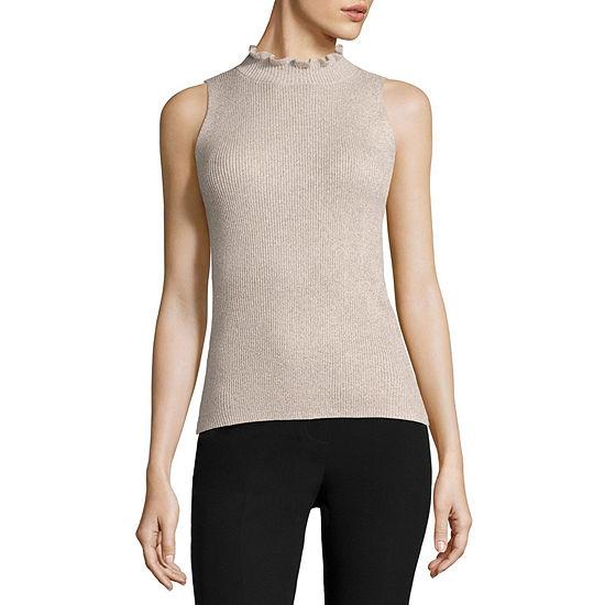 Liz Claiborne Womens Crew Neck Sleeveless Pullover Sweater
