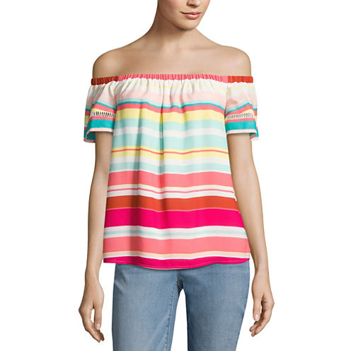 Belle + Sky Off The Shoulder Trim Top
