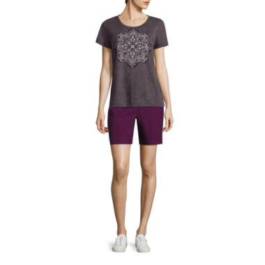 jcpenney.com | Made For Life Short Sleeve Scoop Burnout Medallion Tee or Relaxed Fit Woven Cargo Shorts