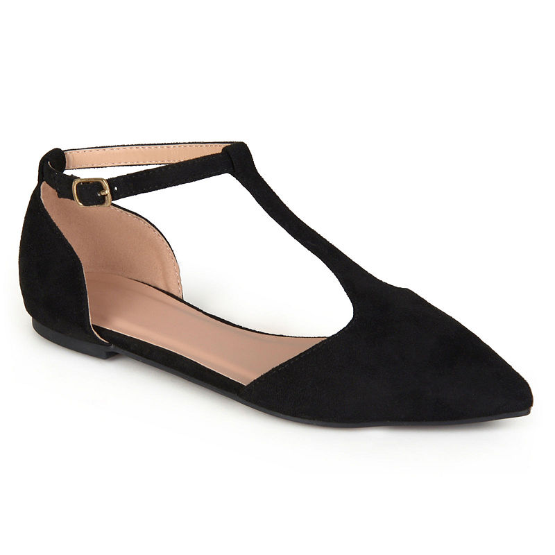 Rockabilly Shoes- Heels, Pumps, Boots, Flats Journee Collection Womens Vera Ballet Flats Buckle Pointed Toe Size 8 12 Medium Black $46.74 AT vintagedancer.com