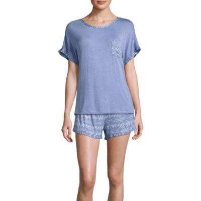 Ambrielle Ruffle Trim Shorts Pajama Set