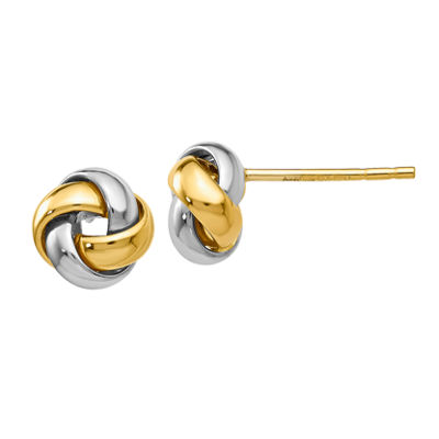 14K Two Tone Gold 8mm Knot Stud Earrings