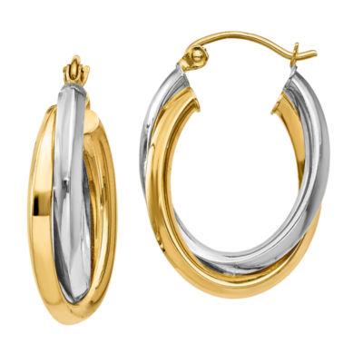 14K Two Tone Gold 13mm Oval Hoop Earrings