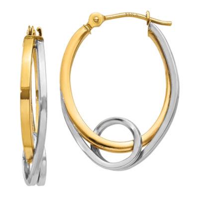 14K Two Tone Gold 14mm Oval Hoop Earrings