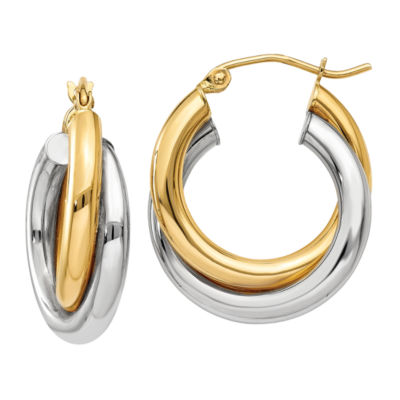 14K Two Tone Gold 14mm Round Hoop Earrings
