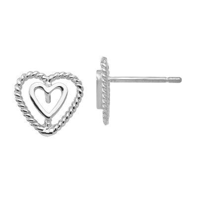 14K White Gold 9mm Heart Stud Earrings