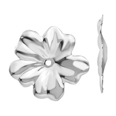 14K White Gold Flower Earring Jackets