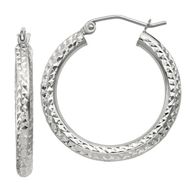 14K White Gold 25mm Round Hoop Earrings