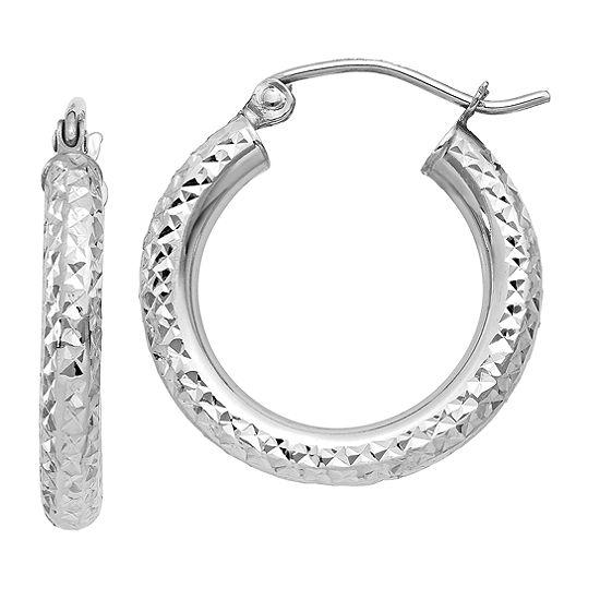 14K White Gold 20mm Round Hoop Earrings