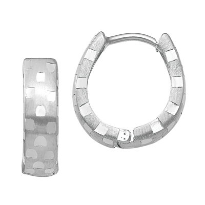 14K White Gold 14mm Round Hoop Earrings