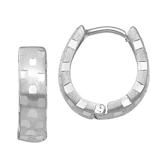 14K White Gold 14mm Round Hoop Earrings