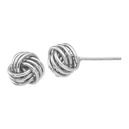 14K White Gold 8mm Knot Stud Earrings