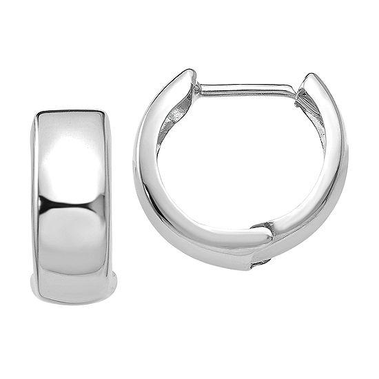 14K White Gold 12mm Hoop Earrings