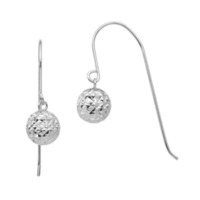 14K White Gold Round Drop Earrings