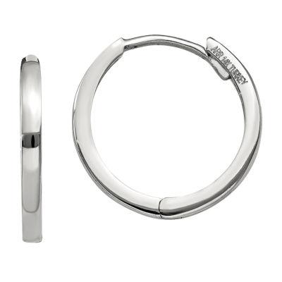 14K White Gold 11mm Round Hoop Earrings