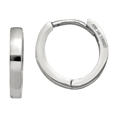 14K White Gold 8mm Round Hoop Earrings