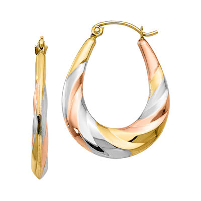 10K GOLD 27mm Oval Hoop Earrings