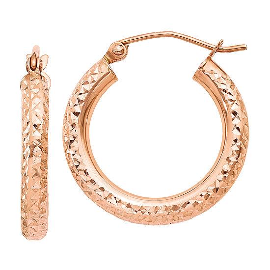 14K Rose Gold 20mm Round Hoop Earrings