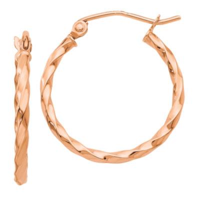 14K Rose Gold 22mm Round Hoop Earrings