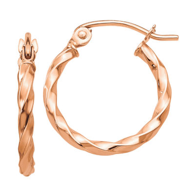 14K Rose Gold 16mm Round Hoop Earrings