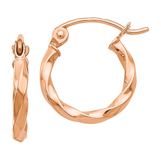 14K Rose Gold 12mm Round Hoop Earrings